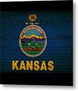 Usa American Kansas State Map Outline With Grunge Effect Flag An Metal Print by Matthew Gibson