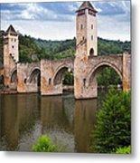 Valentre Bridge In Cahors France Metal Print by Elena Elisseeva