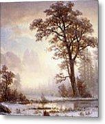 Valley Of The Yosemite Snow Fall Metal Print by Albert Bierstadt