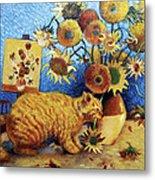 Van Gogh's Bad Cat Metal Print by Eve Riser Roberts