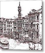 Venice In Pen And Ink Metal Print by Adendorff Design
