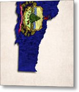 Vermont Map Art With Flag Design Metal Print by World Art Prints And Designs