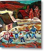 Vermont Pond Hockey Scene Metal Print by Carole Spandau