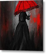 Victorian Lady With Parasol Metal Print by Lourry Legarde