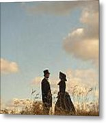 Victorian Man And Woman Metal Print by Lee Avison