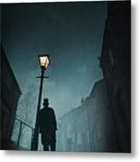 Victorian Man With Top Hat Leaning On A Street Light Metal Print by Lee Avison