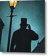 Victorian Man With Top Hat Under A Gas Lamp Metal Print by Lee Avison