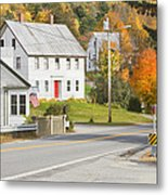 Vienna Maine In Fall Metal Print by Keith Webber Jr