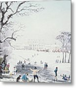 View Of Buckingham House And St James Park In The Winter Metal Print by John Burnet