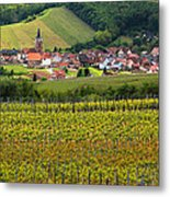 View Of Rodern From The Vineyards Of Alsace Metal Print by Greg Matchick