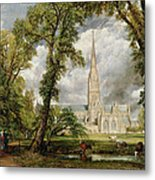 View Of Salisbury Cathedral From The Bishop's Grounds Metal Print by John Constable