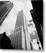 View Of The Empire State Building And Surrounding Buildings And Cloudy Sky West 33rd Street New York Metal Print by Joe Fox