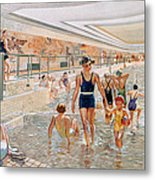 View Of The First Class Swimming Pool Metal Print by French School