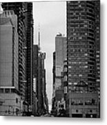 View Up West 42nd Street From The Hudson River New York City Metal Print by Joe Fox