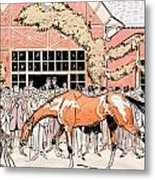 Viewing The Racehorse In The Paddock Metal Print by Thelem