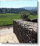Vineyard And Winery Ruins At Historic Jack London Ranch In Glen Ellen Sonoma California 5d24537 Metal Print by Wingsdomain Art and Photography