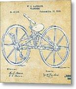 Vintage 1869 Velocipede Bicycle Patent Artwork Metal Print by Nikki Marie Smith