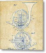 Vintage 1914 French Horn Patent Artwork Metal Print by Nikki Marie Smith