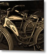 Vintage 1941 Boys And 1946 Girls Bicycle 5d25760 Sepia1 Metal Print by Wingsdomain Art and Photography