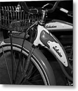 Vintage 1941 Boys And 1946 Girls Bicycle 5d25760 Vertical Black And White Metal Print by Wingsdomain Art and Photography