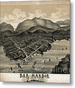 Vintage Bar Harbor Map Metal Print by Edward Fielding