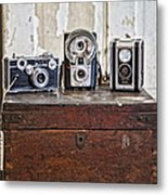 Vintage Cameras At Warehouse 54 Metal Print by Toni Hopper