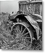 Vintage Farm Tractor Metal Print by Theresa Tahara
