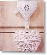 Vintage Hearts With Texture Metal Print by Jane Rix