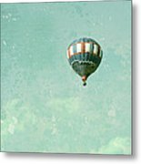 Vintage Inspired Hot Air Balloon In Red White And Blue Metal Print by Brooke Ryan