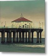 Vintage Manhattan Beach Pier Metal Print by Kim Hojnacki