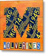 Vintage Michigan License Plate Art Metal Print by Design Turnpike