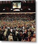 Virginia Fans Storm Court At John Paul Jones Arena Metal Print by Replay Photos