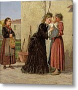 Visiting The Wet Nurse Metal Print by Silvestro Lega