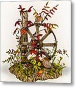 Wagon Wheel And Quail Metal Print by Mary Mcgrath
