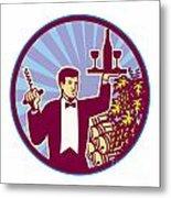 Waiter Serving Wine Glass Bottle Retro Metal Print by Aloysius Patrimonio