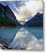 Waiting For Sunrise At Lake Louise Metal Print by Teresa Zieba