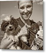Walkies Sepia Metal Print by Steve Harrington