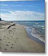 Walking The Beach Metal Print by Sandy Keeton