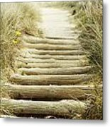 Walkway To Beach Metal Print by Les Cunliffe