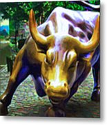 Wall Street Bull V2 Metal Print by Wingsdomain Art and Photography