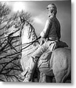 War Horses - 8th Pennsylvania Cavalry Regiment Pleasonton Avenue Sunset Autumn Gettysburg Metal Print by Michael Mazaika