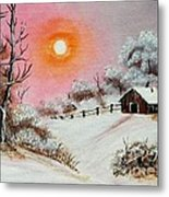 Warm Winter Day After Bob Ross Metal Print by Barbara Griffin