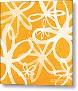 Waterflowers- Orange And White Metal Print by Linda Woods