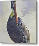 Waterway Pelican Metal Print by Deborah Benoit
