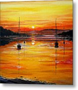Watery Sunset At Bala Lake Metal Print by Andrew Read