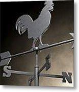 Weathervane Cockerel Isolated Metal Print by Allan Swart
