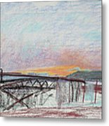 West Oakland Skyline At Sunset Metal Print by Asha Carolyn Young