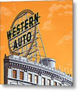 Western Auto Sign Artistic Sky Metal Print by Andee Design