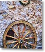 Wheel And Sun In Taromina Sicily Metal Print by David Smith