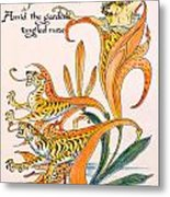 When Lilies Turned To Tiger Blaze Metal Print by Walter Crane